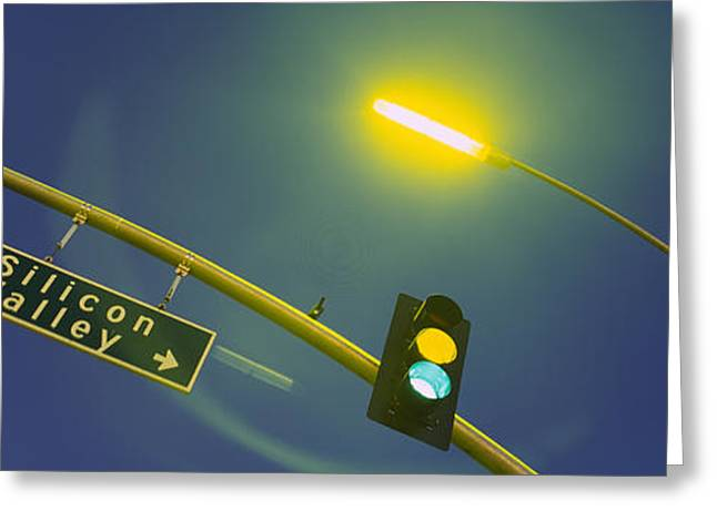 Low Angle View Of Traffic Lights Greeting Card