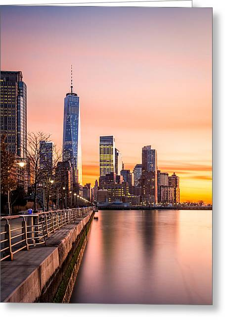 Lower Manhattan At Sunset Greeting Card