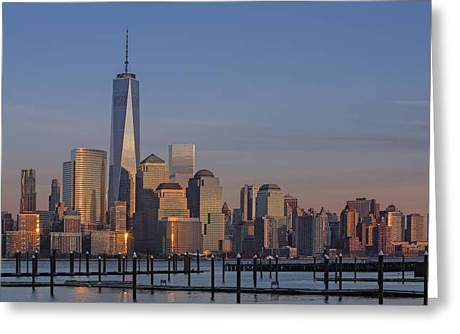 Lower Manhattan Skyline Greeting Card by Susan Candelario