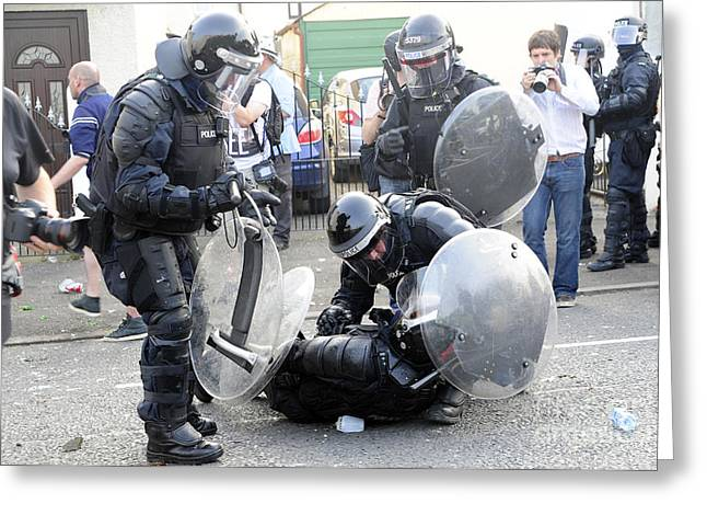 Loyalist Protesters Attack Police Lines Greeting Card by Andrew Chittock