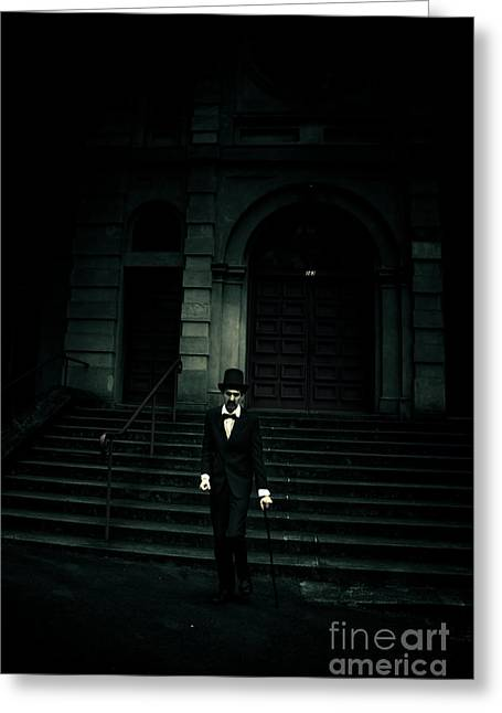 Lurking In The Shadows Of Darkness Greeting Card