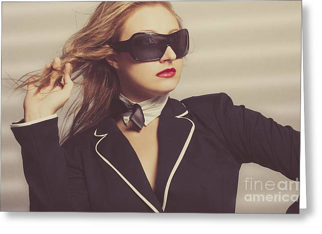 Luxury Fashion Girl In Exclusive Sunglasses Greeting Card by Jorgo Photography - Wall Art Gallery
