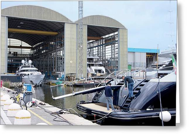 Luxury Yacht Construction Greeting Card by Sheila Terry