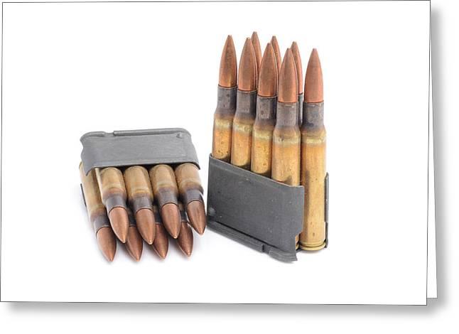 M1 Garand Clips And Ammunition. Greeting Card
