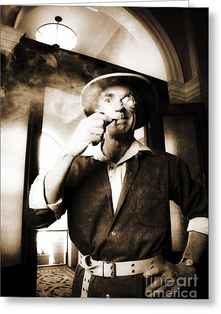 Macho Vintage Big Game Hunter Or Game Warden Greeting Card by Jorgo Photography - Wall Art Gallery