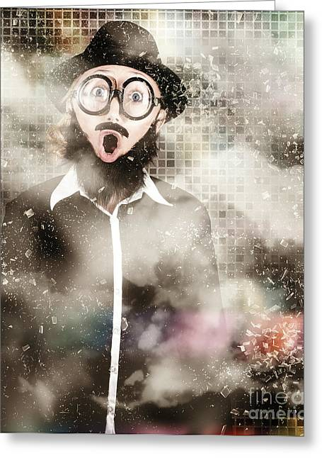 Mad Scientist With Solution To Chemical Reaction  Greeting Card by Jorgo Photography - Wall Art Gallery