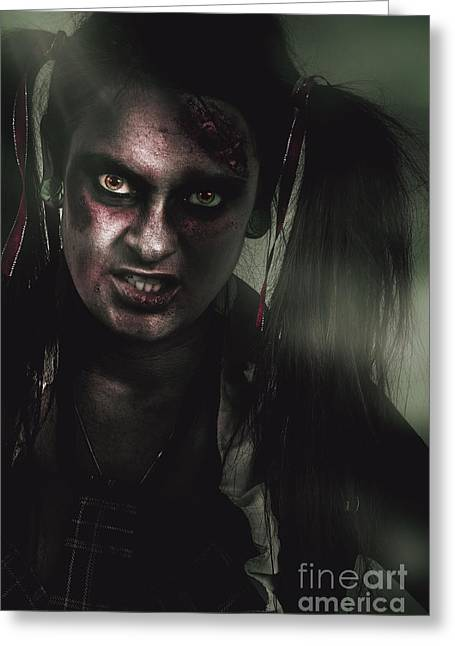 Mad Zombie Schoolgirl In Green Twilight Nightmare Greeting Card by Jorgo Photography - Wall Art Gallery