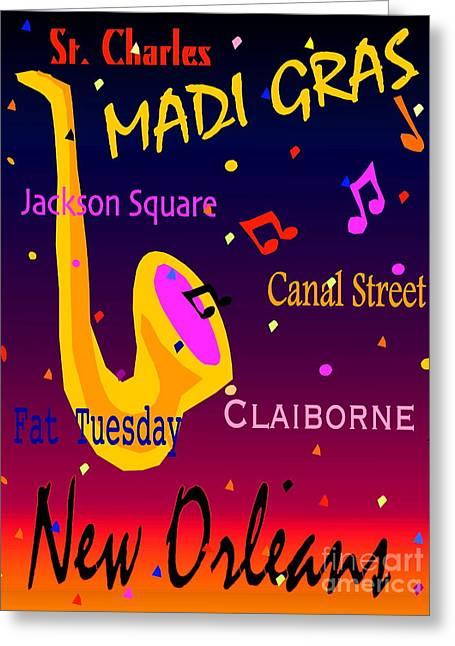 Madi Gras Greeting Card by Gayle Price Thomas