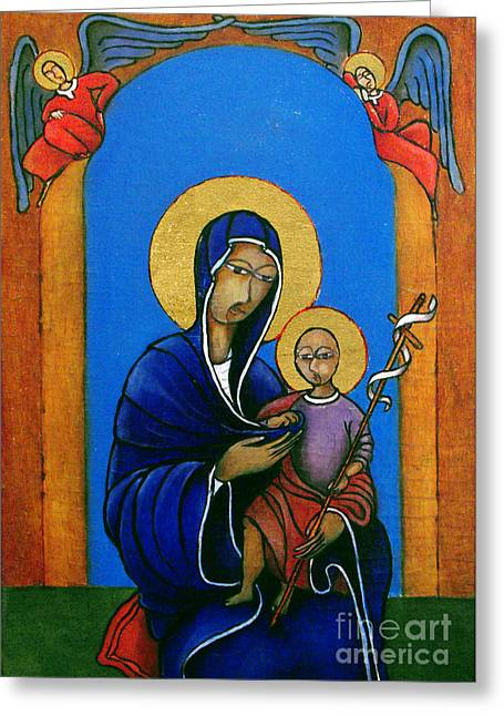 Madonna With Child And Cross Greeting Card by Estefan Gargost