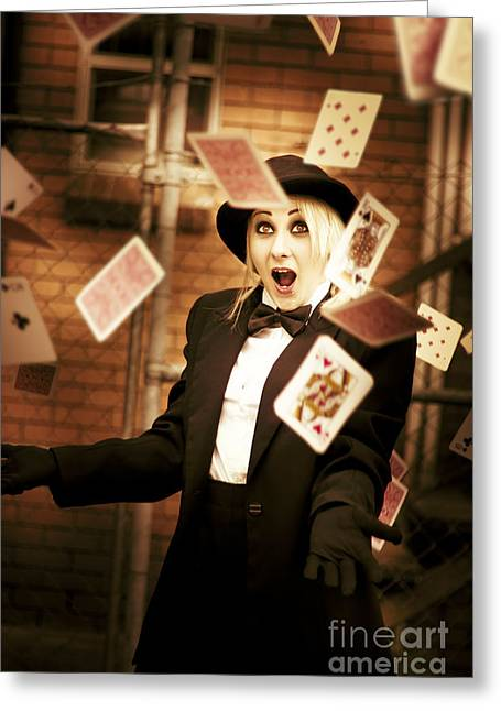 Magic Cards Trick Greeting Card by Jorgo Photography - Wall Art Gallery