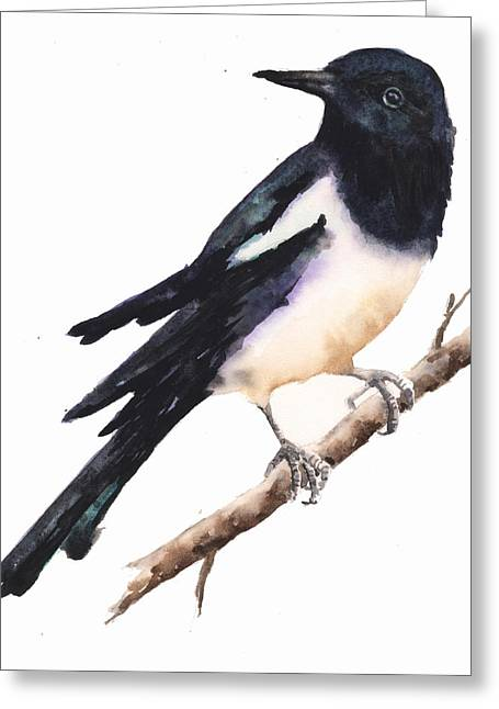 Magpie Painting Greeting Card by Alison Fennell