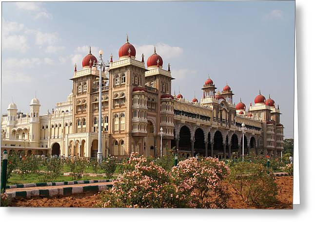 Maharaja's Palace And Garden India Mysore Greeting Card by Carol Ailles