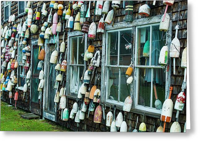 Maine, Pemaquid Point, Lobster Buoys Greeting Card