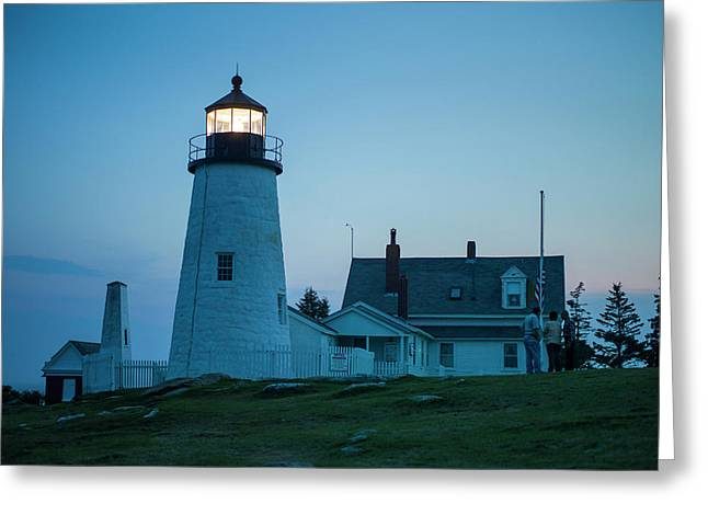 Maine, Pemaquid Point, Pemaquid Point Greeting Card by Walter Bibikow