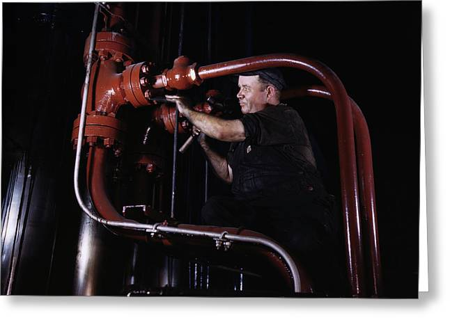 Maintenance Mechanic Checking Pipes Greeting Card by Stocktrek Images
