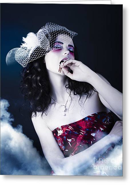 Makeup Beauty With Gothic Hair And Bloody Mouth Greeting Card by Jorgo Photography - Wall Art Gallery