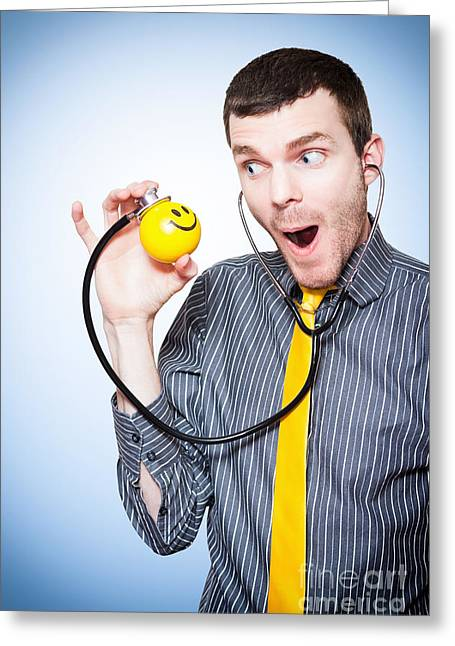 Male Doctor Making Health Fun For Sick Kids Greeting Card by Jorgo Photography - Wall Art Gallery