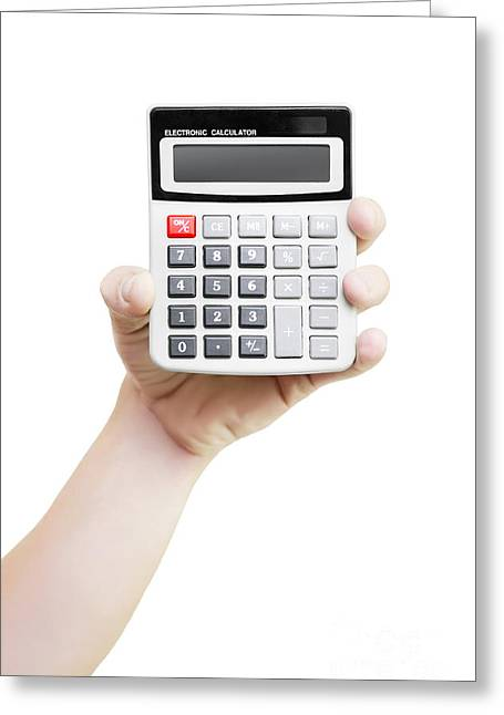 Male Hand Holding Calculator Greeting Card by Jorgo Photography - Wall Art Gallery