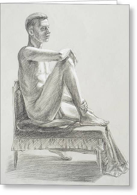 Male Model Seated Charcoal Study Greeting Card by Irina Sztukowski