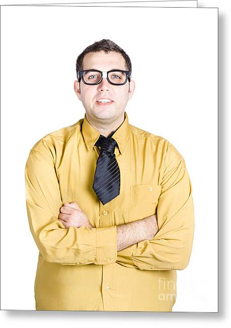 Male Nerd In Glasses White Background Greeting Card by Jorgo Photography - Wall Art Gallery
