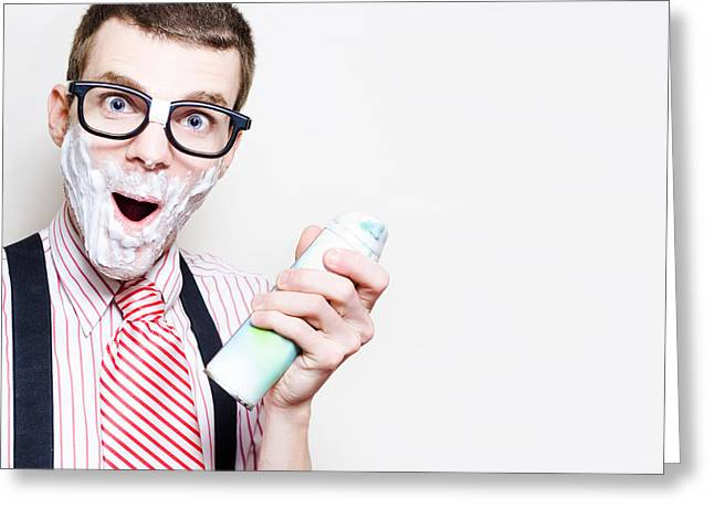 Male Nerd With Sensitive Skin Having Morning Shave Greeting Card