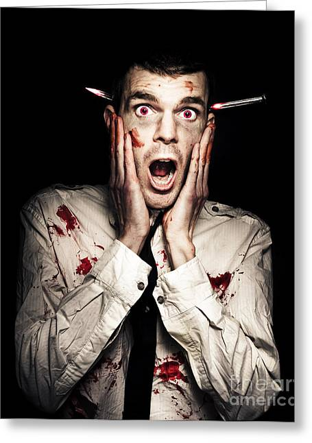 Male Zombie Businessman Displaying Shock Horror Greeting Card by Jorgo Photography - Wall Art Gallery