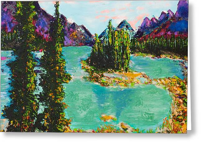 Maligne Lake Jasper Alberta Mountain Greeting Card by Joyce Sherwin