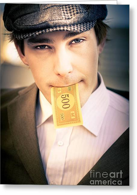 Man Eating And Consuming His Cash Earnings Greeting Card