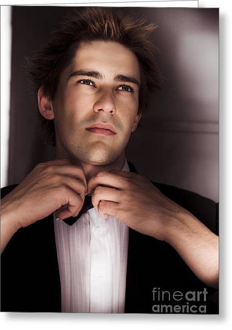 Man Getting Ready For Black Tie Formal Event Greeting Card by Jorgo Photography - Wall Art Gallery
