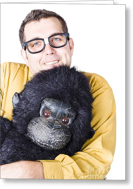 Man Holding Gorilla Costume Greeting Card