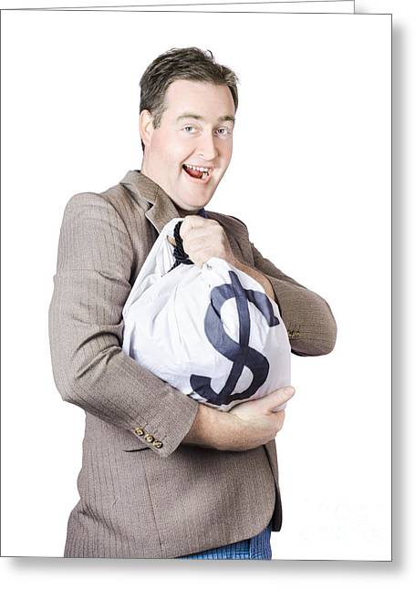 Man Holding Large Sum Of Money In Bank Deposit Bag Greeting Card by Jorgo Photography - Wall Art Gallery