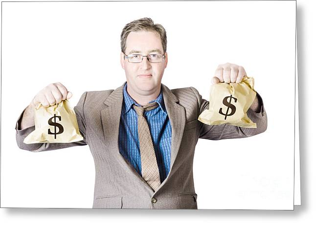 Man Holding Money Bags On White Background Greeting Card