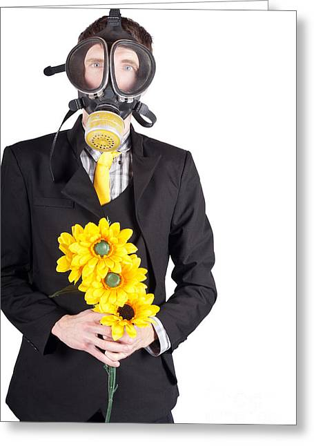 Man In Gas Mask With Flowers Greeting Card by Jorgo Photography - Wall Art Gallery