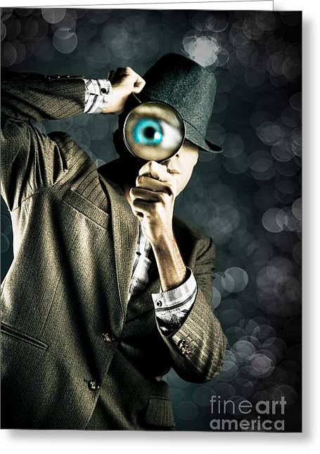 Man Looking Through Magnifying Glass Greeting Card by Jorgo Photography - Wall Art Gallery