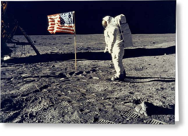 Man On The Moon Greeting Card by Neil Armstrong/Underwood Archive