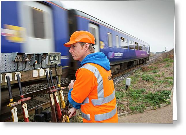 Man Switching Points At A Level Crossing Greeting Card