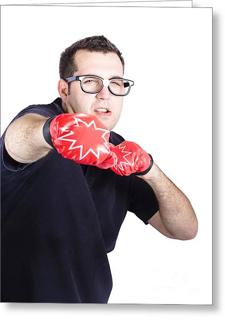 Man With Boxing Gloves Greeting Card by Jorgo Photography - Wall Art Gallery