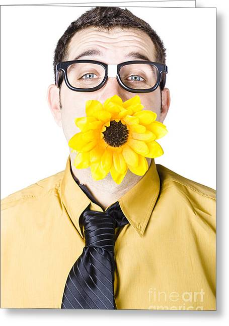 Man With Flower In Mouth Greeting Card