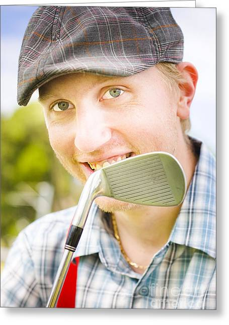 Man With Golf Club Greeting Card by Jorgo Photography - Wall Art Gallery