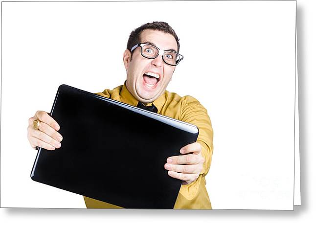 Man With Laptop Greeting Card by Jorgo Photography - Wall Art Gallery