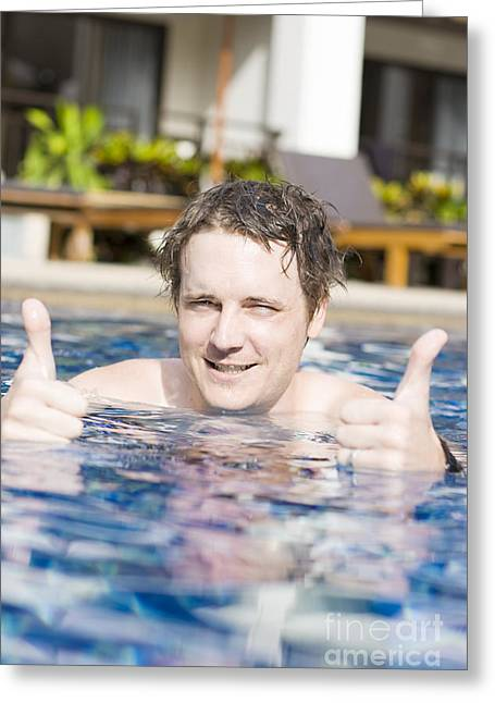 Man With Thumbs Up In Pool Greeting Card