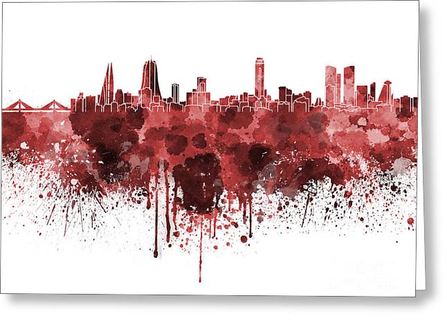 Manama Skyline In Watercolor On White Background Greeting Card by Pablo Romero