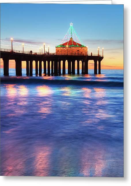Manhattan Beach Pier At Sunset Greeting Card by Richard Maschmeyer