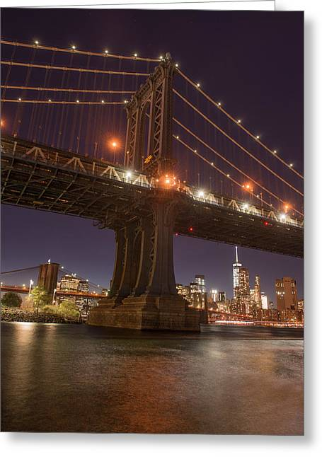 Manhattan Bridge And Skyline, Brooklyn Greeting Card