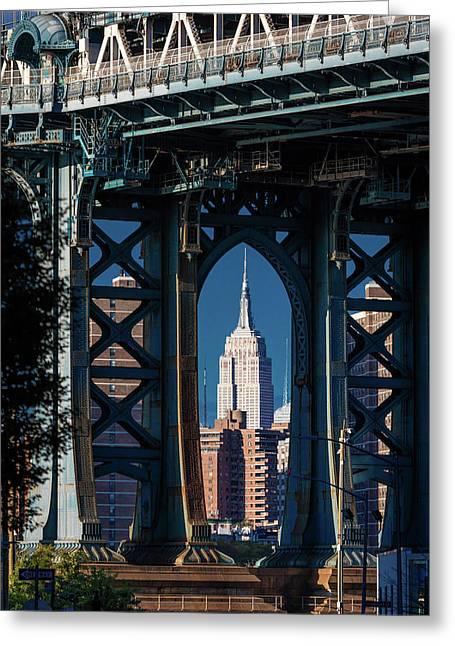 Manhattan Bridge Frames Empire State Greeting Card