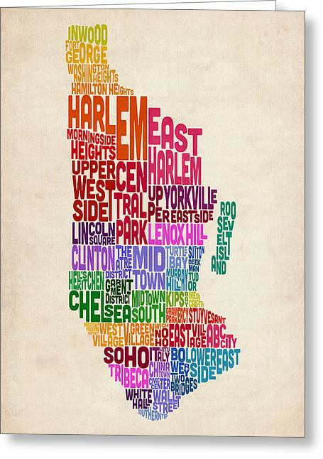 Manhattan New York Typography Text Map Greeting Card by Michael Tompsett