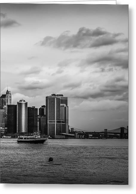 Manhattan Skyline Right Triptych Greeting Card by David Morefield