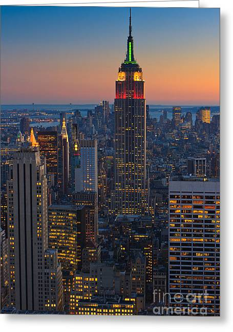 Manhattan View At Sunset Greeting Card
