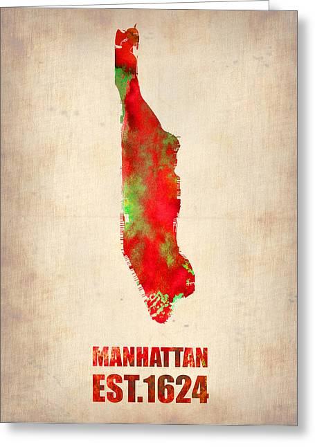 Manhattan Watercolor Map Greeting Card by Naxart Studio
