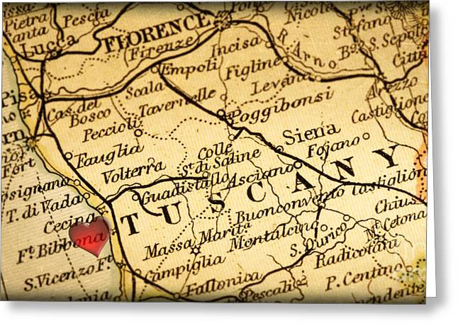 Map Of Florence Tuscany Italy Europe In A Antique Distressed Vin Greeting Card by ELITE IMAGE photography By Chad McDermott